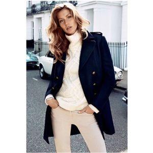 Wool Blend Navy Pea Coat